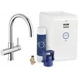 Смеситель для кухни GROHE Blue Chilled с С-изливом, функция фильтрации и охлаждения воды, цвет Хром