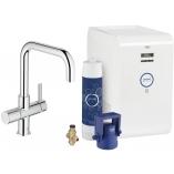 Смеситель для кухни GROHE Blue Chilled с U-изливом, функция фильтрации и охлаждения воды, цвет Хром