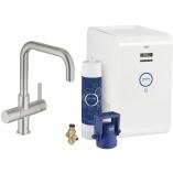Смеситель для кухни GROHE Blue Chilled с U-изливом, функция фильтрации и охлаждения воды, цвет Суперсталь