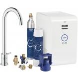 Кухонный вентиль GROHE Blue Minta New, функции фильтрации, охлаждения и газирования, цвет хром.
