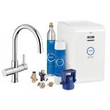 Кухонный смеситель GROHE Blue Chilled & Sparkling с С-изливом, функции фильтрации, охлаждения и газирования, цвет хром.