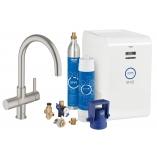 Кухонный смеситель GROHE Blue Chilled & Sparkling с С-изливом, функции фильтрации, охлаждения и газирования, цвет суперсталь.