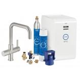 Кухонный смеситель GROHE Blue Chilled & Sparkling с U-изливом, функции фильтрации, охлаждения и газирования, цвет суперсталь.