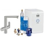 Кухонный смеситель GROHE Blue® K7 Chilled and Sparkling с L-изливом, функции фильтрации, охлаждения и газирования, цвет суперсталь.
