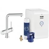 Смеситель для кухни GROHE Blue Chilled с L-изливом, функция фильтрации и охлаждения воды, цвет Хром
