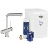 Смеситель для кухни GROHE Blue Chilled с L-изливом, функция фильтрации и охлаждения воды, цвет Суперсталь