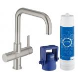 Смеситель для кухни GROHE Blue Pure  с U-изливом, функция фильтрации, цвет суперсталь.