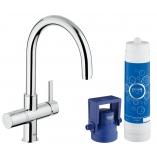 Смеситель для кухни GROHE Blue Pure с C-изливом, функция фильтрации, цвет хром.