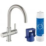 Смеситель для кухни GROHE Blue Pure  с C-изливом, функция фильтрации, цвет суперсталь.