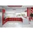П-образная кухня из красного пластика Acryline