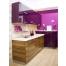 Разноуровневая кухня цвета баклажан из пластика Акрилайн