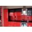 Прямая кухня из красного пластика Acryline