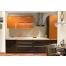 Прямая оранжево-серая кухня из пластика Acryline
