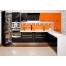 Угловая кухня из оранжевого и черного пластика Acryline