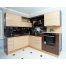 Угловая кухня песочного цвета из пластика Акрилайн