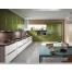 Угловая кухня оливкового цвета из акрилайна